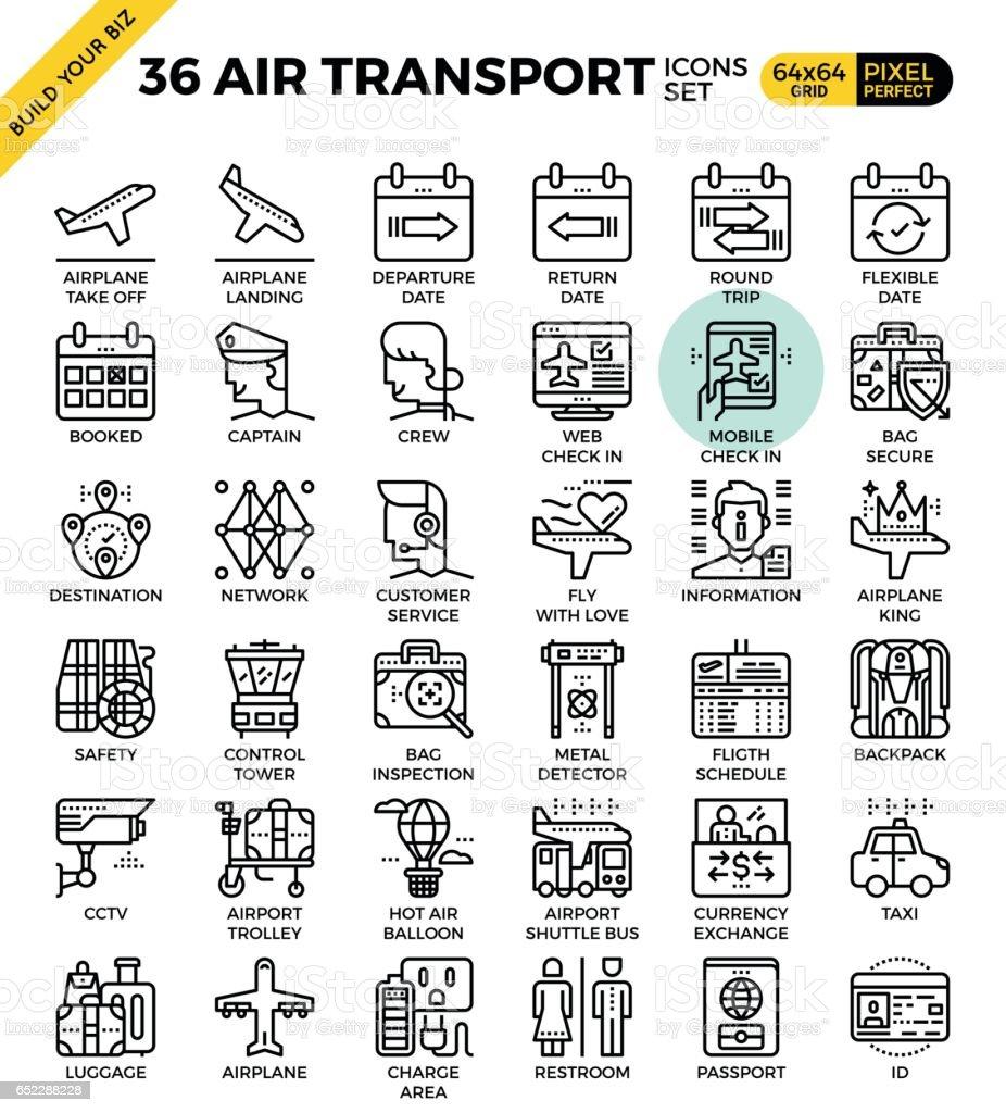 Air Transport & Travel outline icons vector art illustration