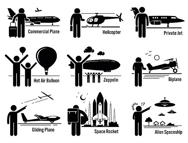 Air Transportation Vehicles and People Set Illustrations Vector set of air transportation that includes people, passenger, and patro riding commercial airplane, helicopter, private jet, hot air balloon, zeppelin, biplane, gliding plane, space rocket, and alien spaceship UFO. passenger stock illustrations