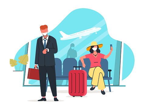 Air travel after the pandemic vector illustration. People wearing protective masks are waiting for a flight at the airport. Maintaining social distance in a public place. Modern flat style.