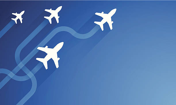 Air Travel and Flights Air travel and flights blue background. EPS 10 file. Transparency effects used on highlight elements. airport backgrounds stock illustrations