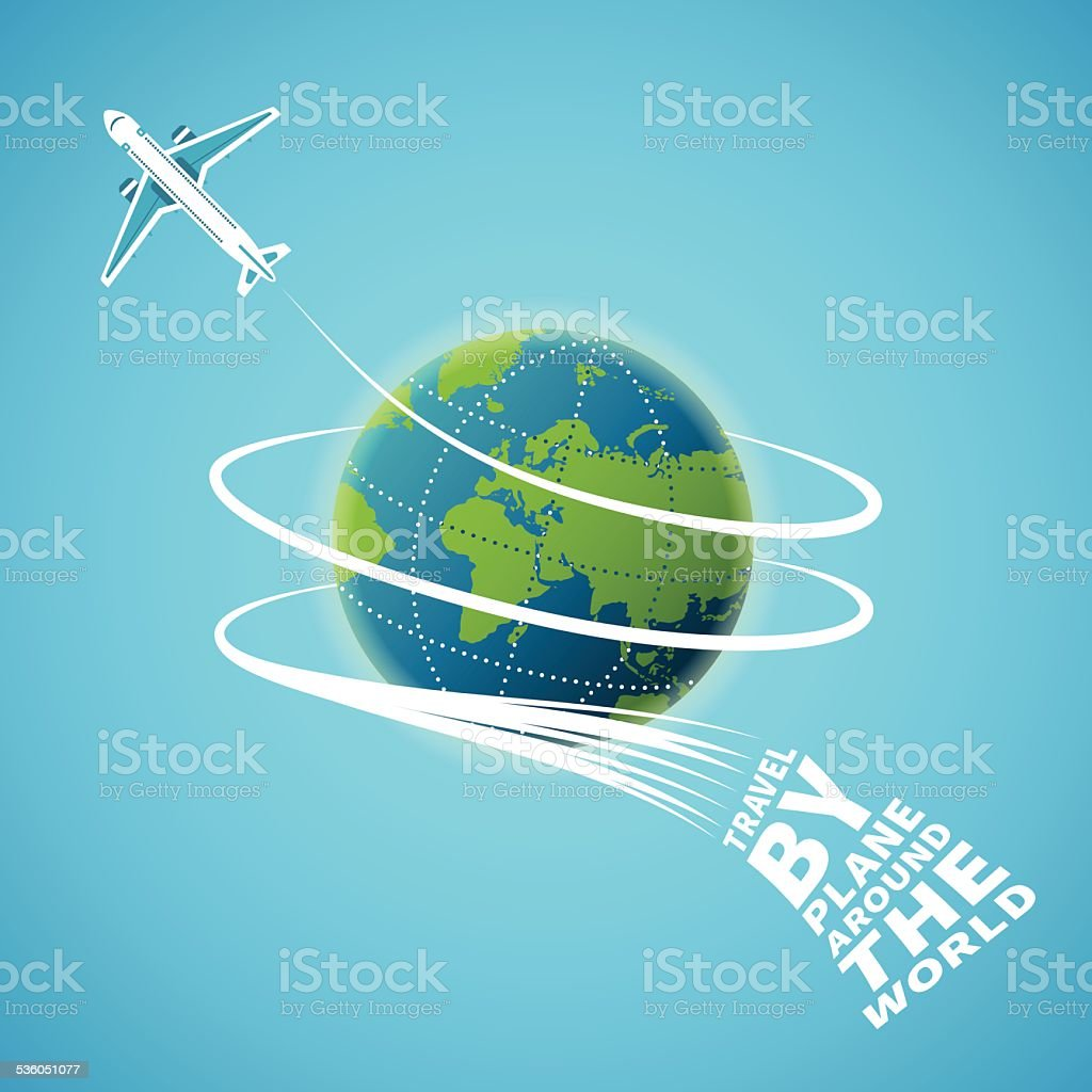 Air travel around the world vector concept vector art illustration