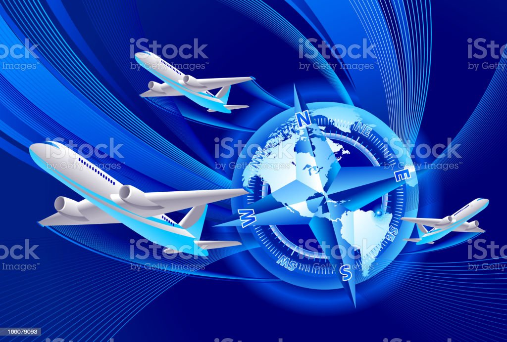 Air travel around the world royalty-free stock vector art