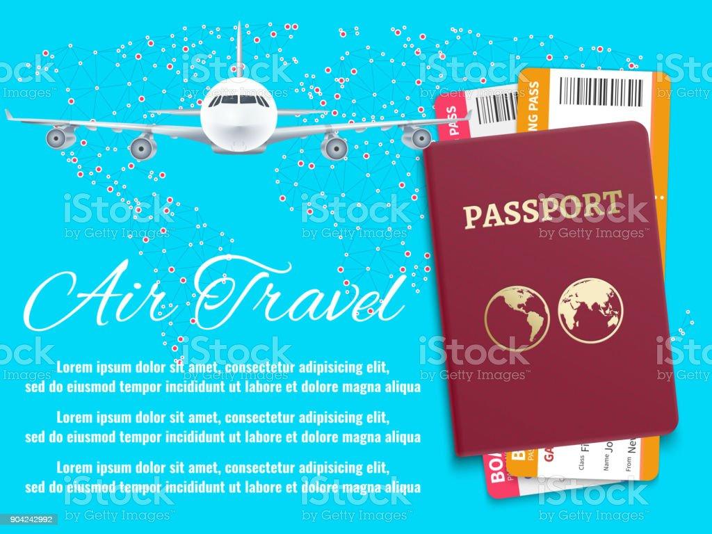 96bfdffdd1 Aire del recorrido banner con pasaporte de mundo mapa avión ilustración de  aire del recorrido banner