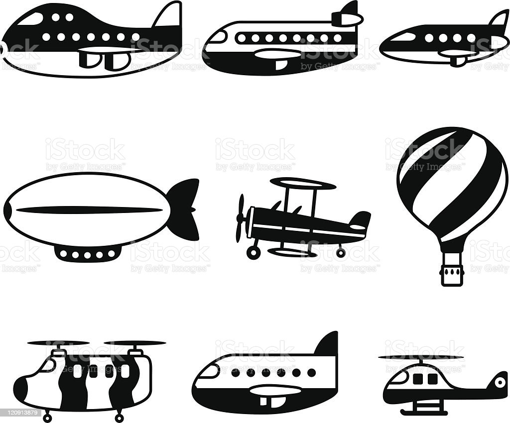 Air Travel Black icons vector art illustration