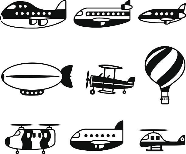 Air Travel Black icons vector art illustration