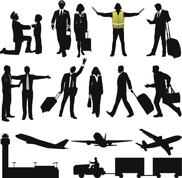 Air Travel Collection Pilots, passengers, airplanes, and more. Files included – jpg, ai (version 8 and CS3), svg, and eps (version 8) airport silhouettes stock illustrations