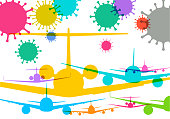 Colourful overlapping silhouettes of Airplanes with Covid-19 Virus, air travel, pandemic, virus, society, air bridge,