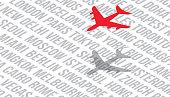 Air Travel Flights Airfare World Cities Background. Concept Vector Illustration.