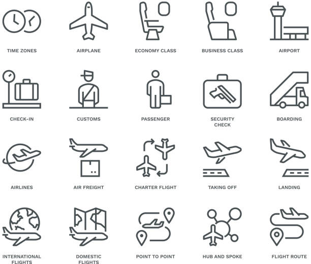 Air Travel Icons. Air Travel Icons. Monoline concept The icons were created on a 48x48 pixel aligned, perfect grid providing a clean and crisp appearance. Adjustable stroke weight. airport borders stock illustrations