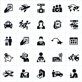A set of air travel icons. The icons include an airport, airline ticket, passport, vehicle rental, family, taxi, passengers, stewardess, parking, check-in, pilot, destination, kiosk and other related icons.