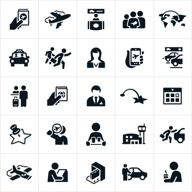 Air Travel Icons A set of air travel icons. The icons include an airport, airline ticket, passport, vehicle rental, family, taxi, passengers, stewardess, parking, check-in, pilot, destination, kiosk and other related icons. airport icons stock illustrations