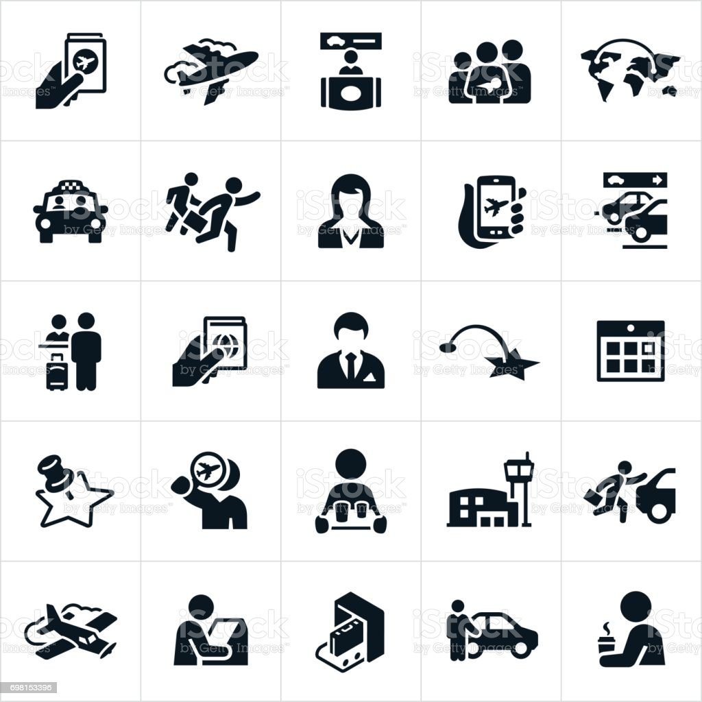 Air Travel Icons vector art illustration