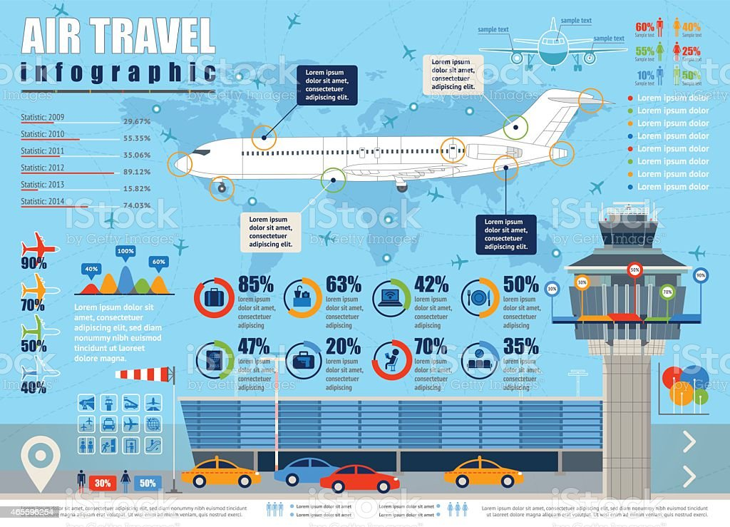 Air travel infographic. vector art illustration