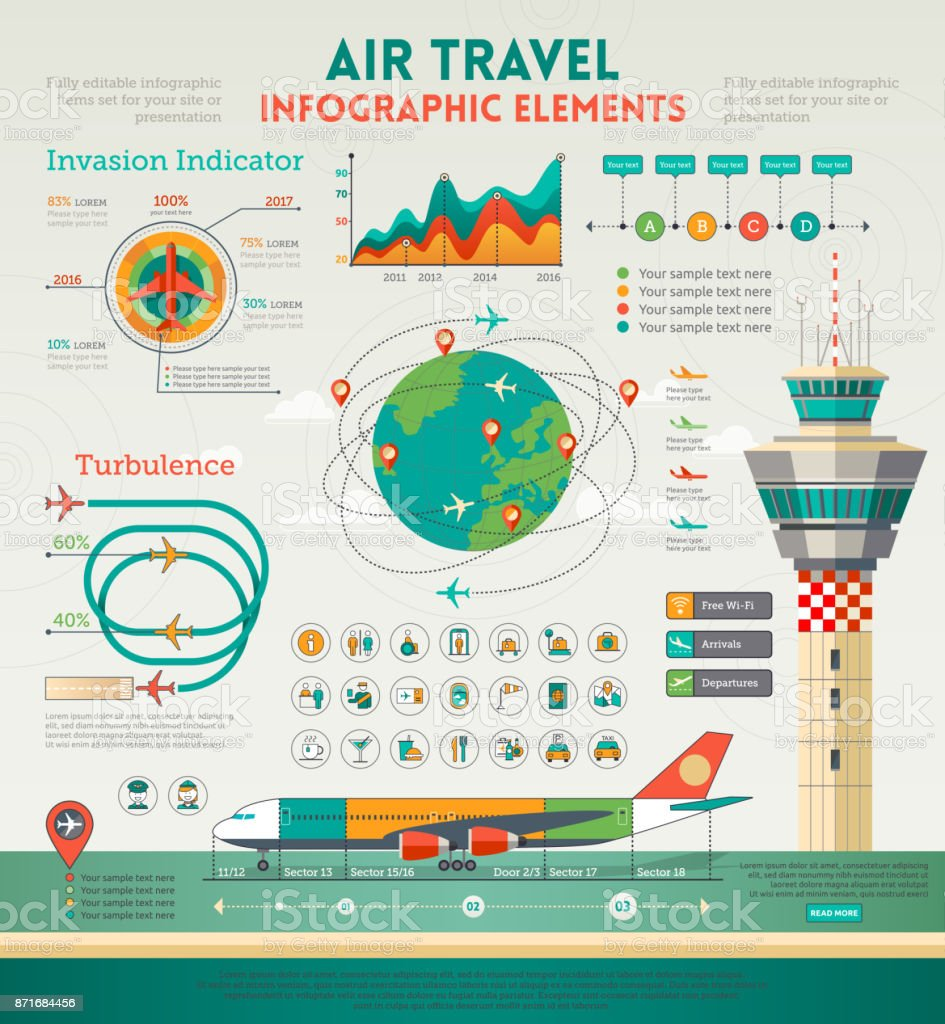 Air Travel Infographics elements vector art illustration
