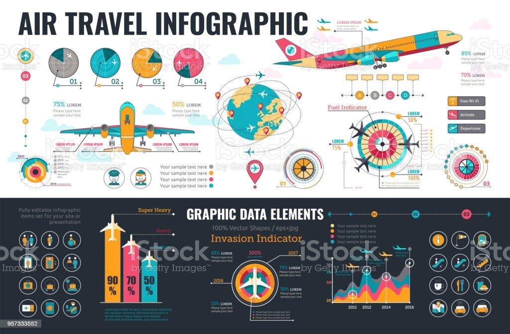 Air Travel Infographics elements vector art illustration