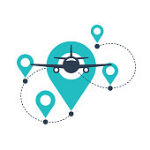 istock Air travel logo - airplane in front view with GPS 1272791382