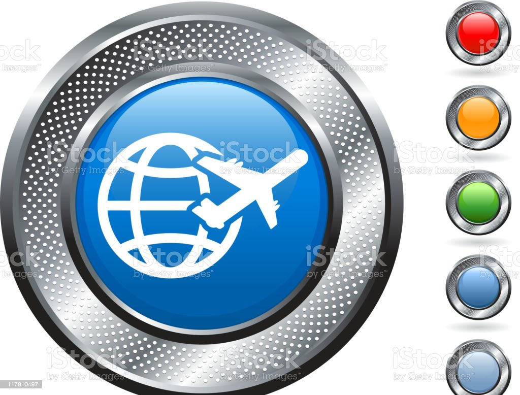 air travel royalty free vector art on metallic button royalty-free stock vector art
