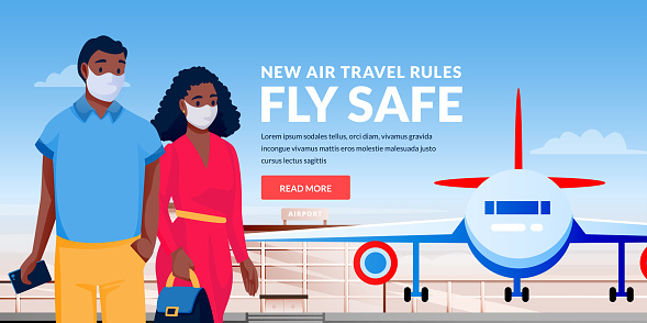Air travel rules healthy flight concept. African man and woman in medical masks at airport terminal. Vector illustration