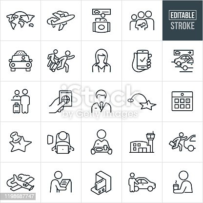 A set of air travel icons that include editable strokes or outlines using the EPS vector file. The icons include a commercial airplane, travel between continents, rental car station, family with a child and baby, taxi cab, person running late through airport pulling luggage, a pilot, stewardess, parking garage, passport, calendar, person seated in airplane seat, stewardess carrying food, airport, single engine airplane, airport, kiosk, baggage security checkin and chauffeur to name a few.