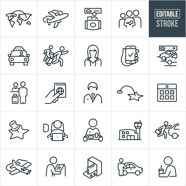 Air Travel Thin Line Icons - Editable Stroke A set of air travel icons that include editable strokes or outlines using the EPS vector file. The icons include a commercial airplane, travel between continents, rental car station, family with a child and baby, taxi cab, person running late through airport pulling luggage, a pilot, stewardess, parking garage, passport, calendar, person seated in airplane seat, stewardess carrying food, airport, single engine airplane, airport, kiosk, baggage security checkin and chauffeur to name a few. airport icons stock illustrations