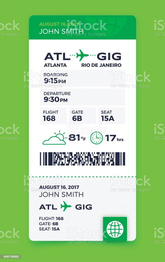 Air Travel Vertical Boarding Pass