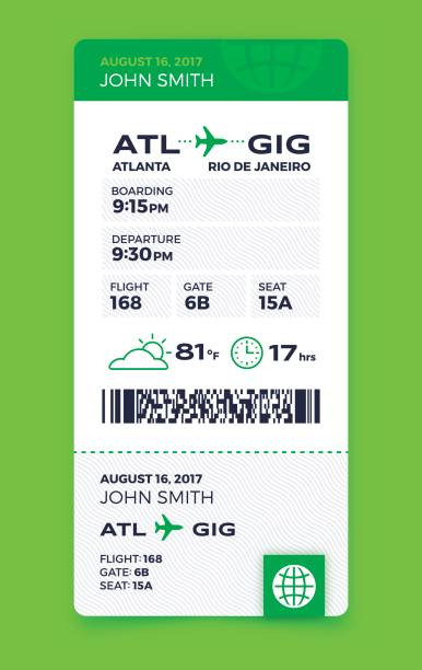 Air Travel Vertical Boarding Pass Airplane boarding pass flying information concept with space for copy. airplane ticket stock illustrations