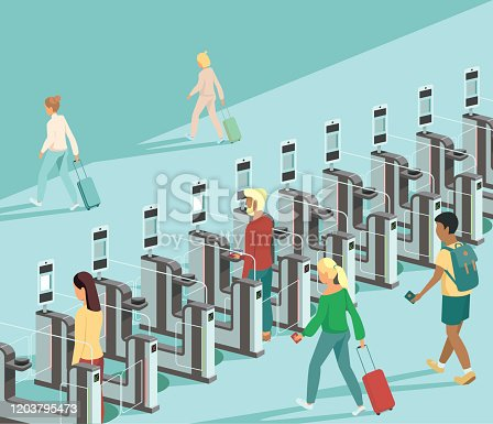 Air travellers pass through automated passport border control gates flat vector illustration