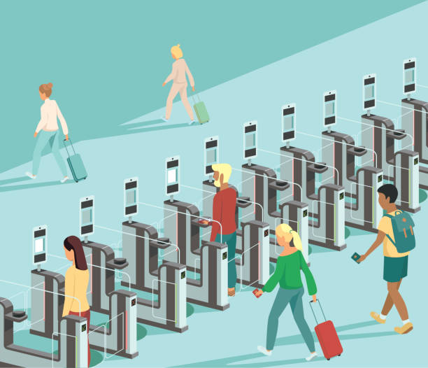 Air travellers pass through automated passport border control gates Air travellers pass through automated passport border control gates flat vector illustration airport borders stock illustrations