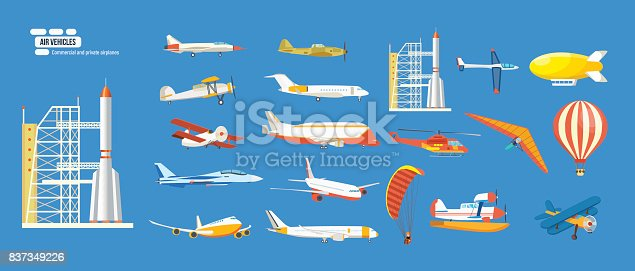 Big set of air vehicles: missile with base, hang-glider, helicopter, airship, balloon, paraglider, biplane, land glider, amphibian aircraft. Modern vector illustration isolated on blue background