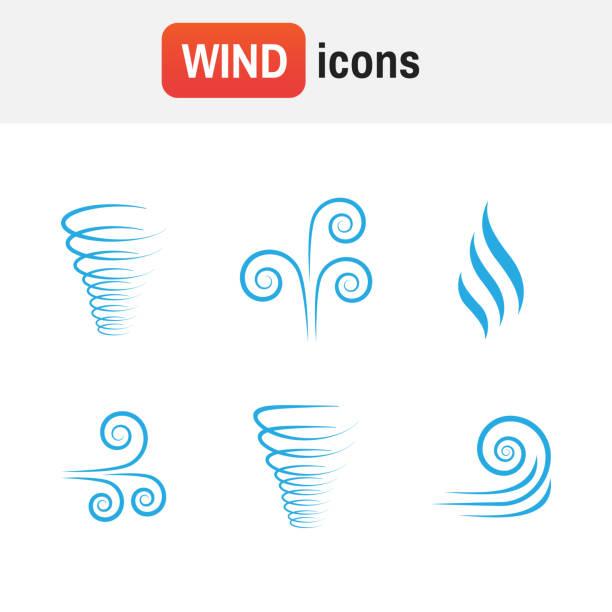 hava dalgası vektör. i̇llüstrasyon vektör rüzgar simgesi toplama - rüzgar stock illustrations