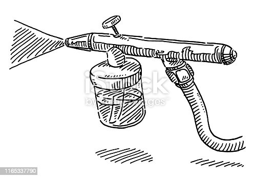 Hand-drawn vector drawing of an Airbrush Equipment. Black-and-White sketch on a transparent background (.eps-file). Included files are EPS (v10) and Hi-Res JPG.
