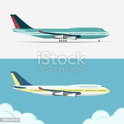 istock Airbus, Civil aviation plane vector 806439182
