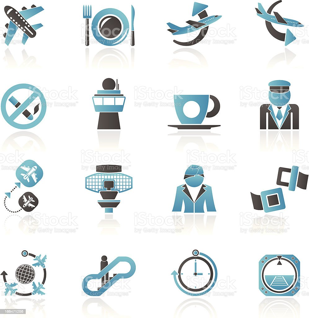 Aircraft, airport and Plane Icons royalty-free aircraft airport and plane icons stock vector art & more images of air stewardess