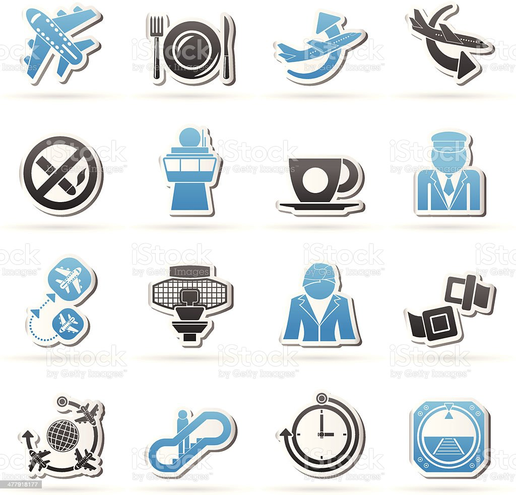 Aircraft,  airport and Plane Icons royalty-free stock vector art