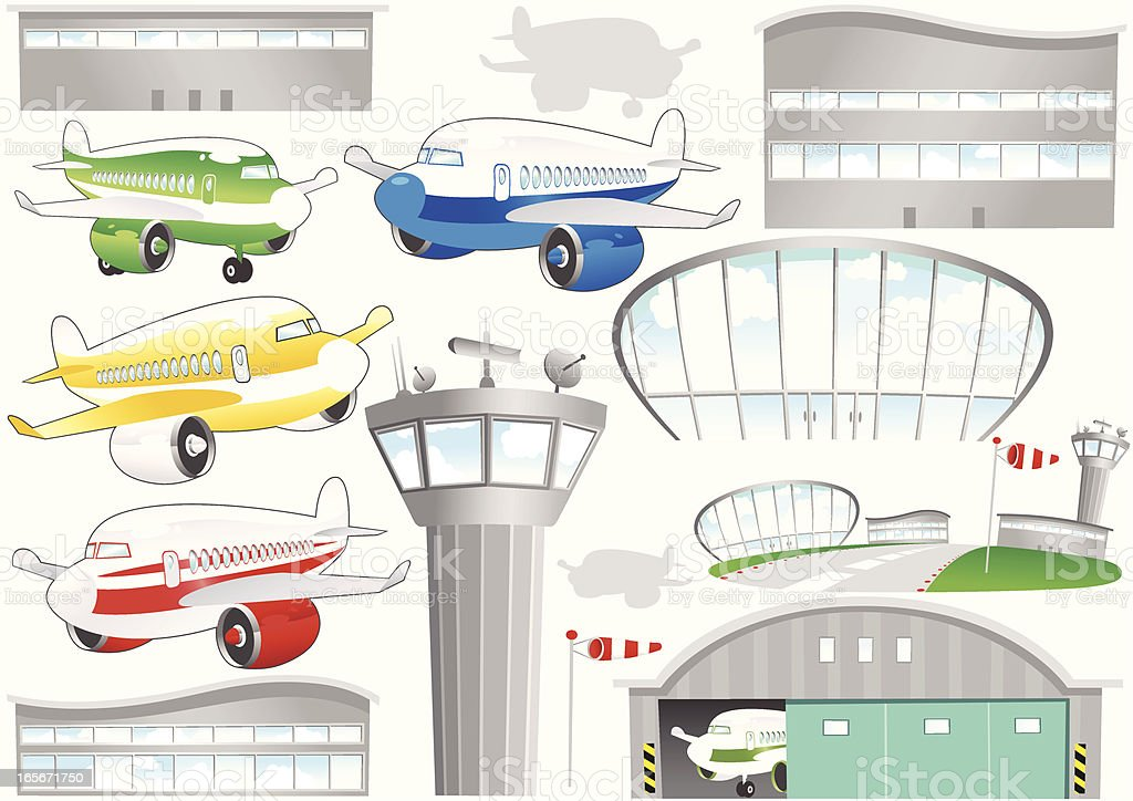 Aircraft and airport buildings graphic elements vector art illustration