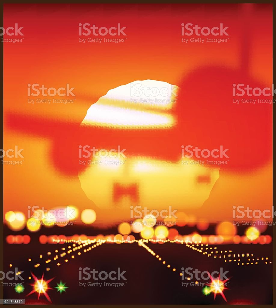 aircraft and the setting sun - ilustración de arte vectorial