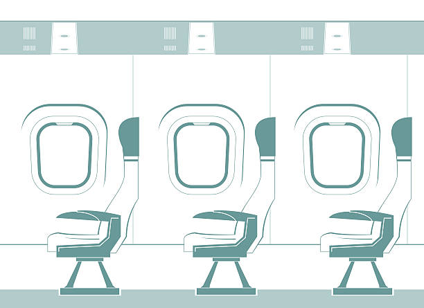 aircraft cabin silhouette - airplane seat stock illustrations