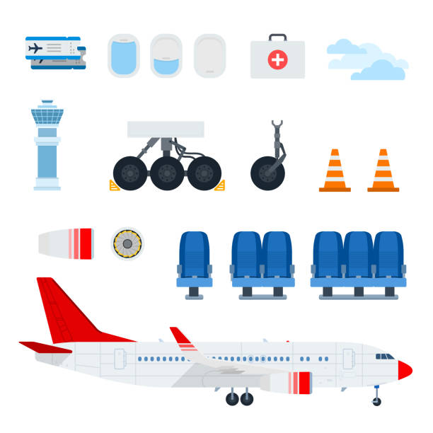 Aircraft Components and plane vector flat material design set. C Aircraft Components and airplane vector flat material design set. Porthole, chassis, medicine chest, cone marker, Air propeller, aircraft seats, Control Tower illustration on white background. flight suit stock illustrations