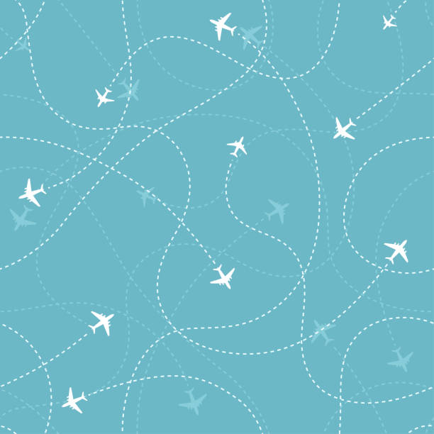 Aircraft destinations with planes icons on blue background. Abstract seamless pattern. Aircraft destinations with planes icons on blue background. Abstract seamless pattern. Vector  illustration. airport backgrounds stock illustrations