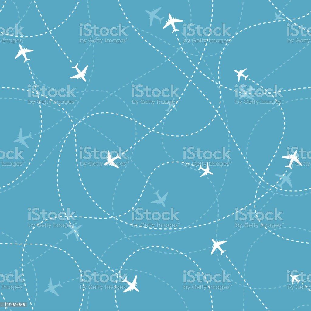 Mavi arka plan üzerinde uçak simgeleri ile uçak hedefleri. Soyut dikişsiz desen. - Royalty-free Arka planlar Vector Art