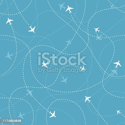 Aircraft destinations with planes icons on blue background. Abstract seamless pattern. Vector  illustration.