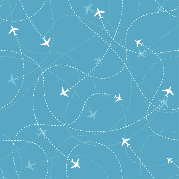 ilustrações de stock, clip art, desenhos animados e ícones de aircraft destinations with planes icons on blue background. abstract seamless pattern. - travel