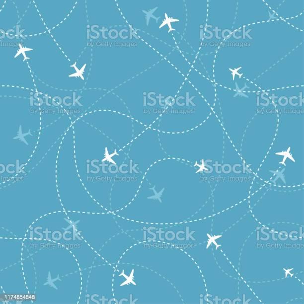 Mavi Arka Plan Üzerinde Uçak Simgeleri Ile Uçak Hedefleri Soyut Dikişsiz Desen Stok Vektör Sanatı & Arka planlar'nin Daha Fazla Görseli
