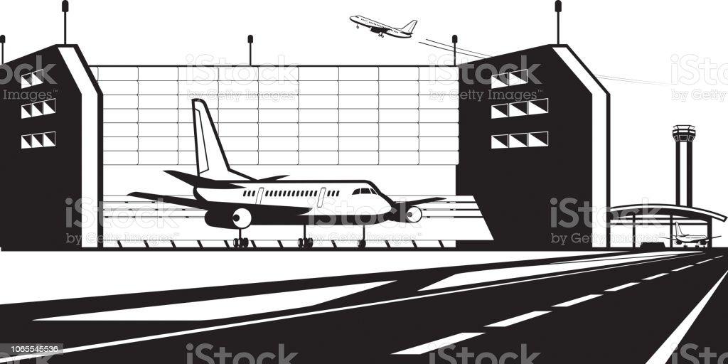 Banc Dessai Moteur Avion à Laéroport Vecteurs Libres De Droits Et
