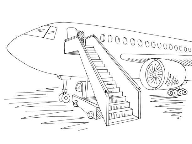 Aircraft exterior graphic black white sketch illustration vector Aircraft exterior graphic black white sketch illustration vector airport drawings stock illustrations