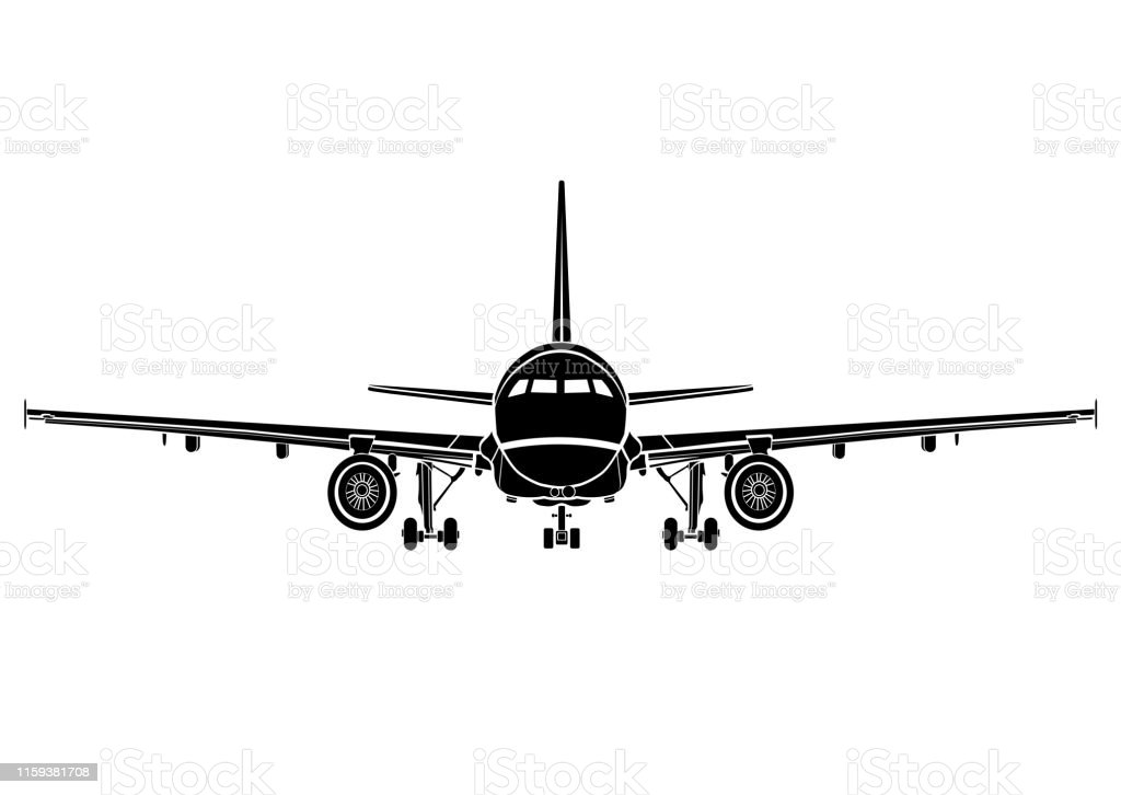 Aircraft Flat Icon Airplane Silhouette Flying Machine Black And White Drawing Full Face Plane Front View Outline