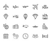 Aircraft flat line icons set. Airplane, helicopter, air taxi, skydiving, balloon, aero tube, paragliding vector illustration. Thin signs for plane tickets store. Pixel perfect 64x64. Editable Strokes.