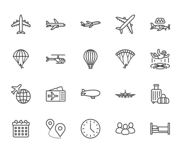 ilustraciones, imágenes clip art, dibujos animados e iconos de stock de conjunto de iconos de línea plana de aeronaves. avión, helicóptero, taxi aéreo, paracaidismo, globo, tubo aerodinámico, ilustración vectorial de parapente. señales finas para la tienda de billetes de avión. píxel perfecto 64x64. trazos editables - avión