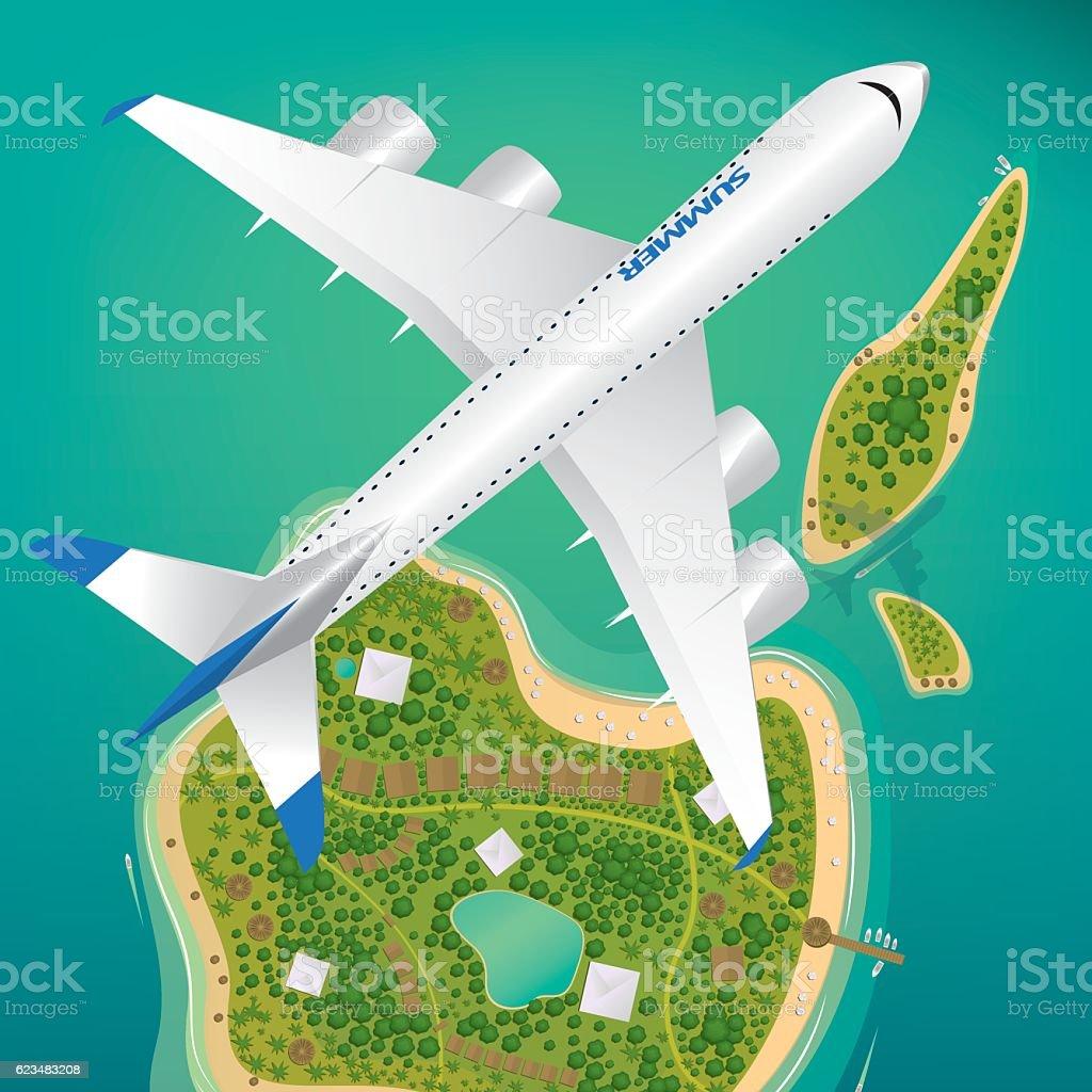 Aircraft flies over few tropical islands vector art illustration