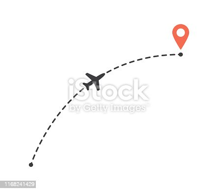 Aircraft flight a curved path to location mark. Plane route line. Tourism and travel illustration isolated on a white background.